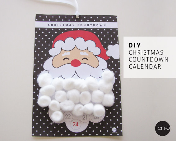 Santa's Beard Christmas Calendar Printable | TOMFO
