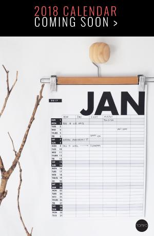 2018 Calendar | 2018 Family organiser | Tomfo | Yamba Scandi | 6 column grid