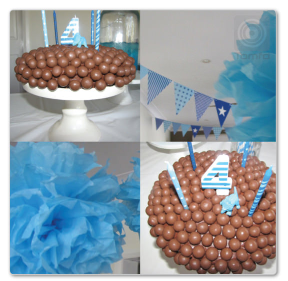 A birthday party for a 4 year old The Malteser Chocolate Cake