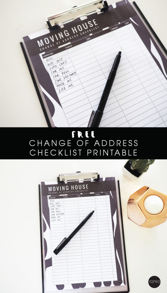 Free Moving House Change Of Address Checklist Printable  Tomfo